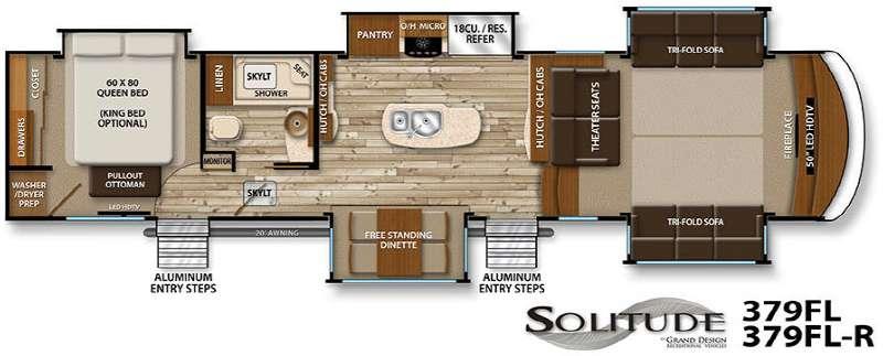 Grand Design Solitude 379FL Fifth Wheel Floorplan